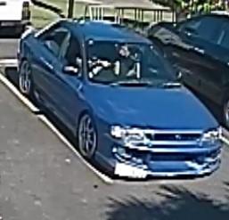 A CCTV image of the stolen Subaru.