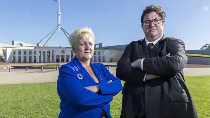 20150326: Michelle Landry MP and George Christensen MP pose for a portrait in front of Parliament House, Canberra. Photo by Auspic.