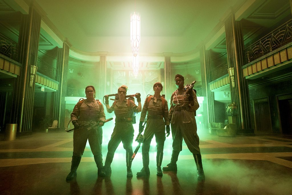 From left, Melissa McCarthy, Kate McKinnon, Kristen Wiig and Leslie Jones in a scene from the movie Ghostbusters.