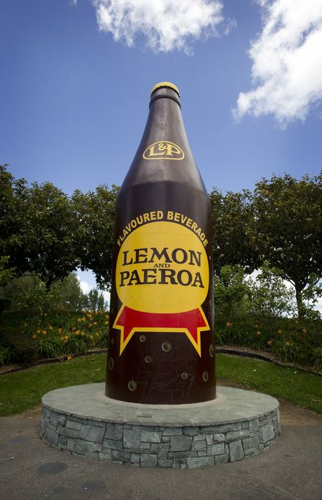 The iconic L&P; bottle. Paeroa, Hauraki, is where the Lemon & Paeroa soft drink was first made and the town is also known as the antique town of New Zealand. Towns behind the icons summer series. 22 December 2014 New Zealand Herald Photograph by Christine Cornege.BTG 19Oct15 - L&P; bottle, Paeroa
