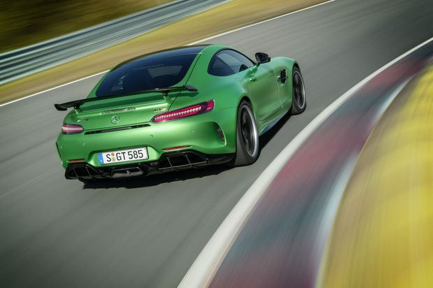 WEAPON: Mercedes-AMG GT gets a power boost to 375kW/650Nm from its twin-turbo V8, trick chassis work and plenty of aero enhancements to create the 'R' version