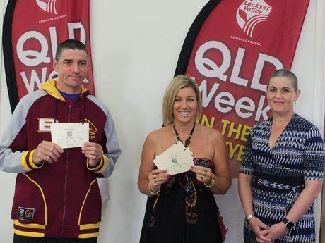 Winning shopper George Zielke and Yaz Kebabs' owner Nicole Gurbyz with Lockyer Valley Regional Council Mayor Tanya Milligan.