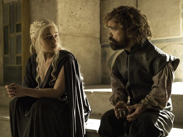 Emilia Clarke and Peter Dinklage in a scene from season six episode 10 of Game of Thrones.