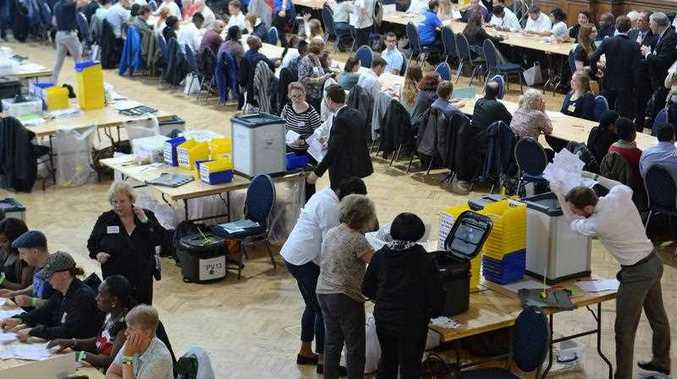 Ballots from the City of Westminster and City of London are counted at the Lindley Hall, Royal Horticultural Halls, in London, Britain, 23 June 2016. Counting gets underway in the referendum on the UK's membership of the European Union.