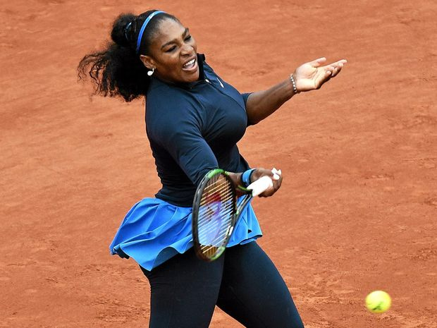 TRUE GREAT: Serena Williams of the USA in action against Garbine Muguruza of Spain during their women's single final match at the French Open.