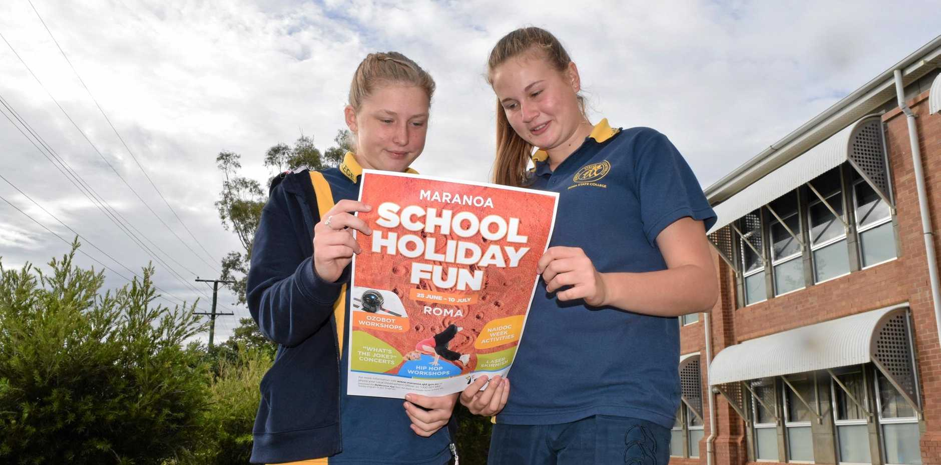 TIME OUT FOR FUN: Roma State College students Hannah Lacey and Jessica Harland are excited to see the end of the first half of school and get stuck into holiday activities.