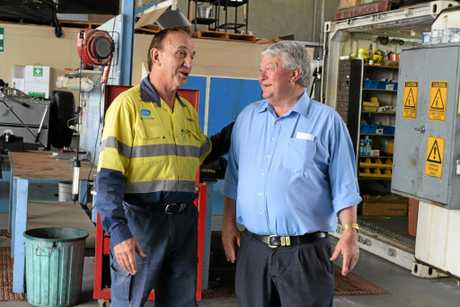 Owner of a Gladstone electrical company Ken Corfield with LNP member for Flynn Ken O'Dowd.