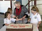 CELEBRATION: Isabella Watts, Sophie Watts, Jean Kratz and Emily Watts cutting the cake at Ulmarra Public School's 125th birthday celebrations on Friday, June 24.