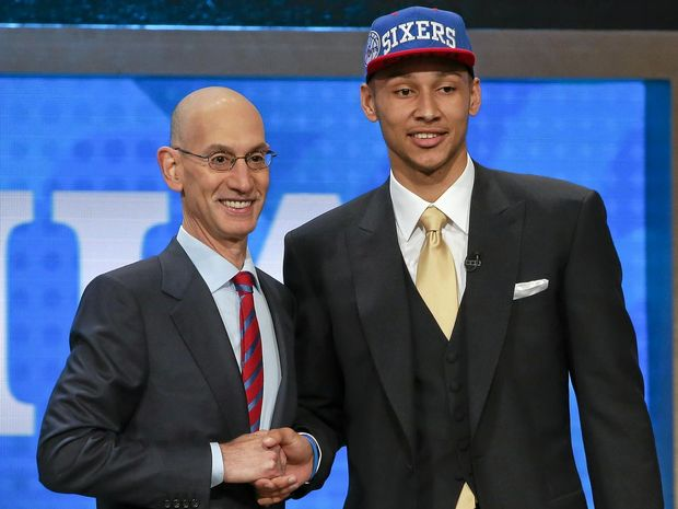TOP PICK: LSU's Ben Simmons poses for a photo with NBA Commissioner Adam Silver after being selected as No.1 by the Philadelphia 76ers during the NBA basketball draft.