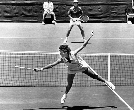 Australia's Margaret Court in action in a 1973 exhibition match.