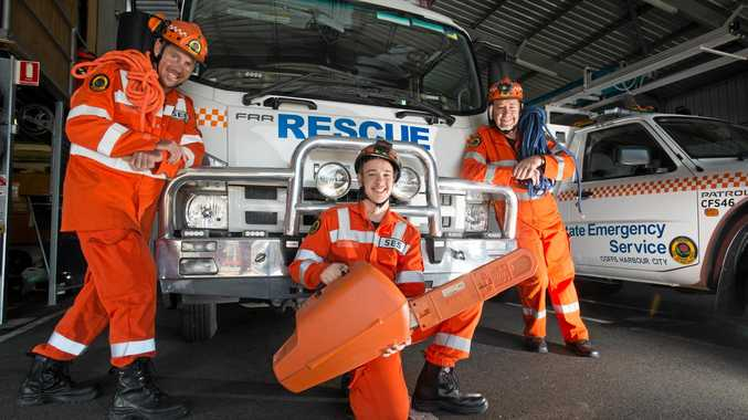 ON CALL: Coffs Harbour SES volunteers James Heriot, Jack Cowling, Mark Watson kept busy in recent wild weather.