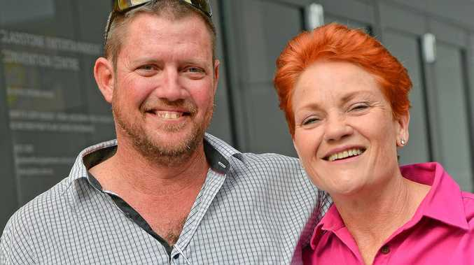 PEOPLES CHOICE? Not according to Western Australia voters, but this star struck Gladstone bloke couldn't miss a photo opportunity when walking past Pauline Hanson outside the CBD's Light Box last year. Photo Mike Richards / The Observer