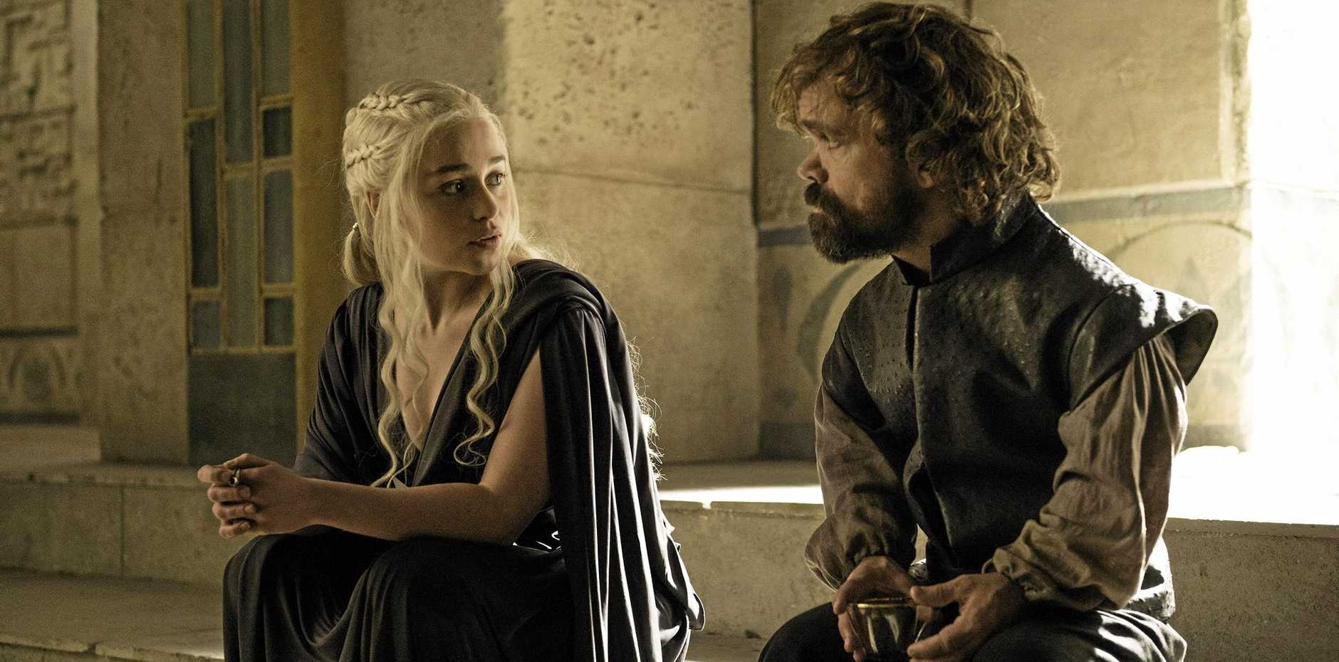 Emilia Clarke and Peter Dinklage in a scene from season six episode 10 of Game of Thrones. Supplied by Foxtel.
