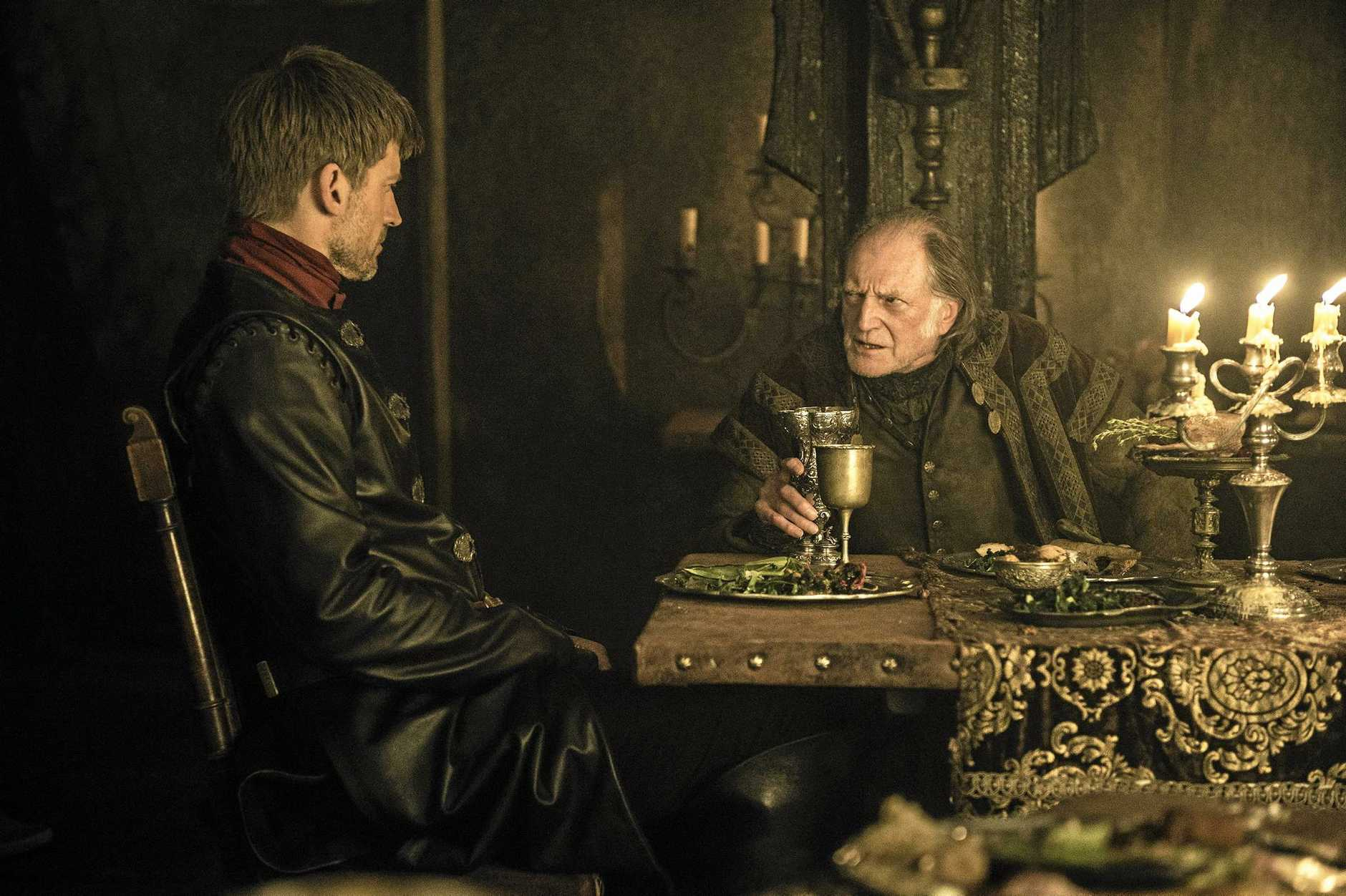 Nikolaj Coster-Waldau and David Bradley in a scene from season six episode 10 in Game of Thrones.