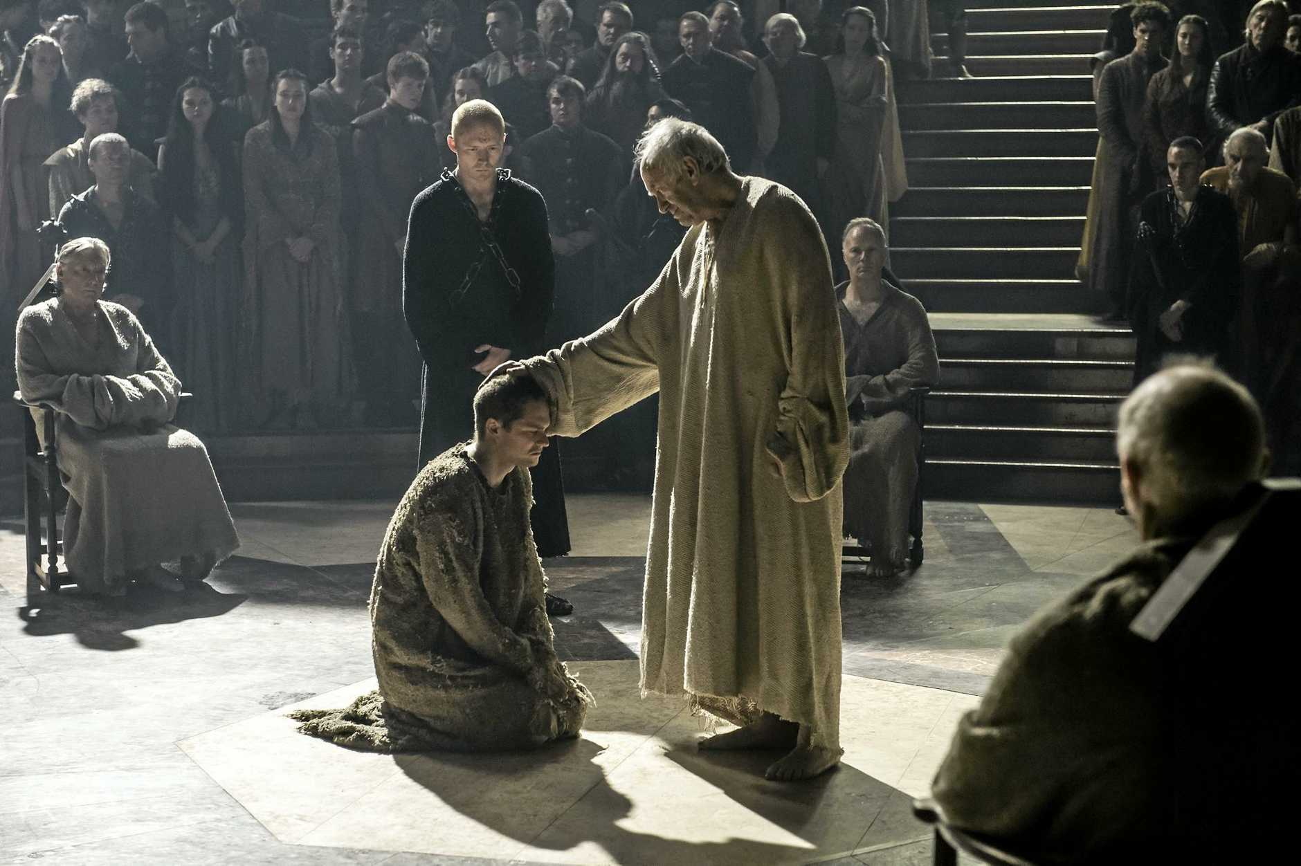 Eugene Simon, Finn Jones and Jonathan Pryce, all pictured centre, in a scene from season six episode 10 of Game of Thrones.