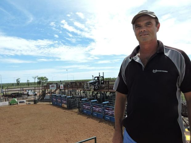 Tony Innes was keen to run rodeos at the Tavern from the moment business partner Dallis Wilschefski floated the idea five years ago. In this picture Tony is stnding on top of the motocross jumping ramp as the final preparations went in to the first event for 2016 took place.