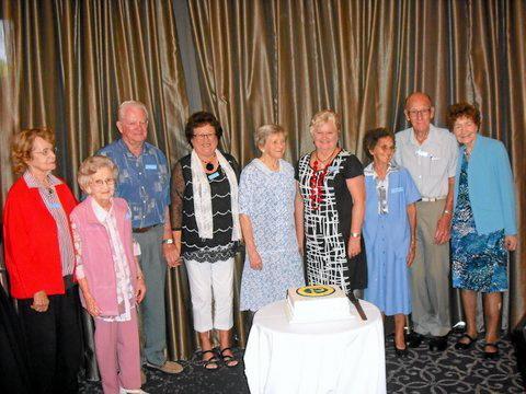 Maryborough Combined Probus foundation members (from left) Fay Goodall, Ailsa Jones, Harvey Battley, Bev Battley, Win Cordie, Gloria Kruske, Adele Rampton, Stan Rampton, and Hazel Smith celebrate 20 years.     Photo Contributed