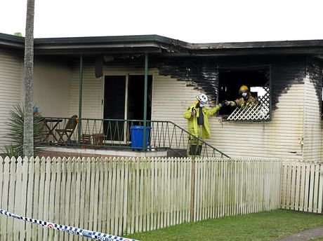 TRAGEDY: A young girl is fighting for life following a fire which ripped through this house on Noosa Rd at the Monkland in the early hours of this morning.