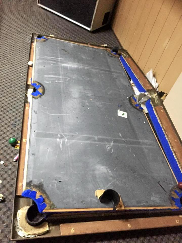 ACTING UP: The Miriam Vale Hotel's $5000 pool table was destroyed by three unruly patrons on Saturday night.