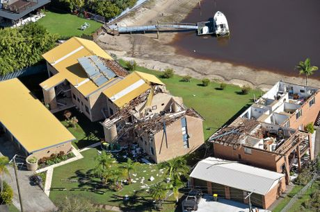 Residents clean up after a storm in Akeringa Place., Mooloolooaba.Aerial photos of the damage