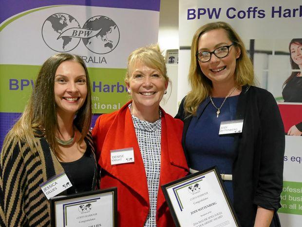 WINNERS: Jess Gillies, Coffs Harbour mayor Denise Knight and Jodi Wittenberg,  the 2016 BPW Scholarship winners.
