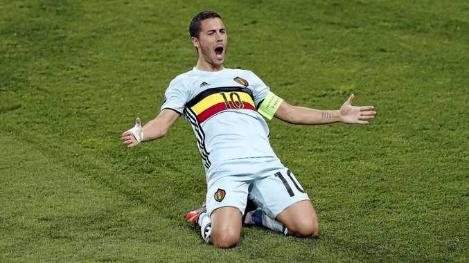 TOP FORM: Belgium's Eden Hazard celebrates scoring his side's third goal during the Euro 2016 round of 16 match between Hungary and Belgium in Toulouse.