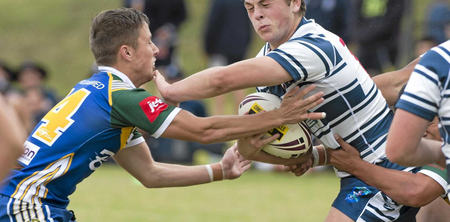 HIT UP: Mitch Revell (right) plays for St Mary's College.