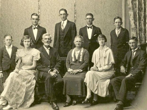 LOOKING BACK: Percy and Mina Skerman raised a family of eight on their Kaimkillenbun farm. Back row: Percy, Graham, Ian and Vic. Front row: Douglas, Phyllis, Percy, Mina, Marjorie and Lloyd.