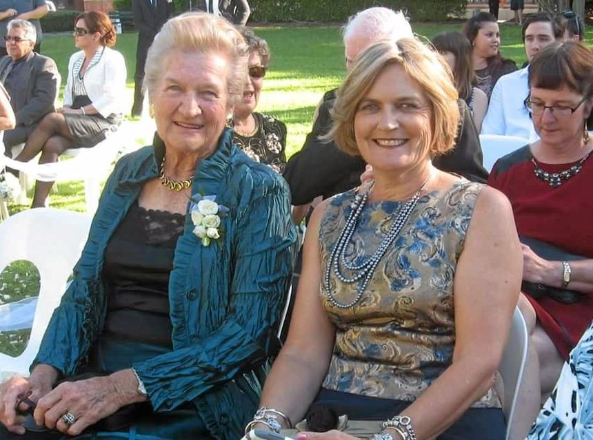 VALE: Roma's Ann Gibbes, pictured with daughter Annette Brennan, passed away on Friday at the age of 86.