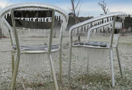 Frozen outdoor furniture at a farm near Stanthorpe where it got to -10 degrees today.
