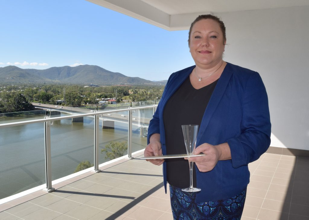 Rockhampton Regional Council promotions manager Sarah Reeves admires the stunning, front-seat views for the Rockhampton River Festival. Photo: Austin King / The Morning Bulletin