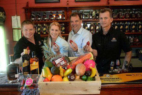 PROMOTION NIGHT: Duncan Littler, Bree Grima, Member for Burnett Stephen Bennett and Deane Flett at the Bundaberg Rum Distillery.Photo: Mike Knott / NewsMail