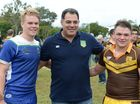 Mal Maninga (centre) with man of the match winners L-R Sam Murphy from TCC and Ethan Pringle from Pardua College at the Indenpendent Secondary Schools Confraternity Carnival held in Rockhampton. Photo: Chris Ison / The Morning Bulletin