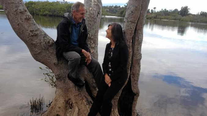 ON THE CAMPAIGN TRAIL: Former Greens' leader Bob Brown and Richmond candidate Dawn Walker at the Cobaki broadwater.