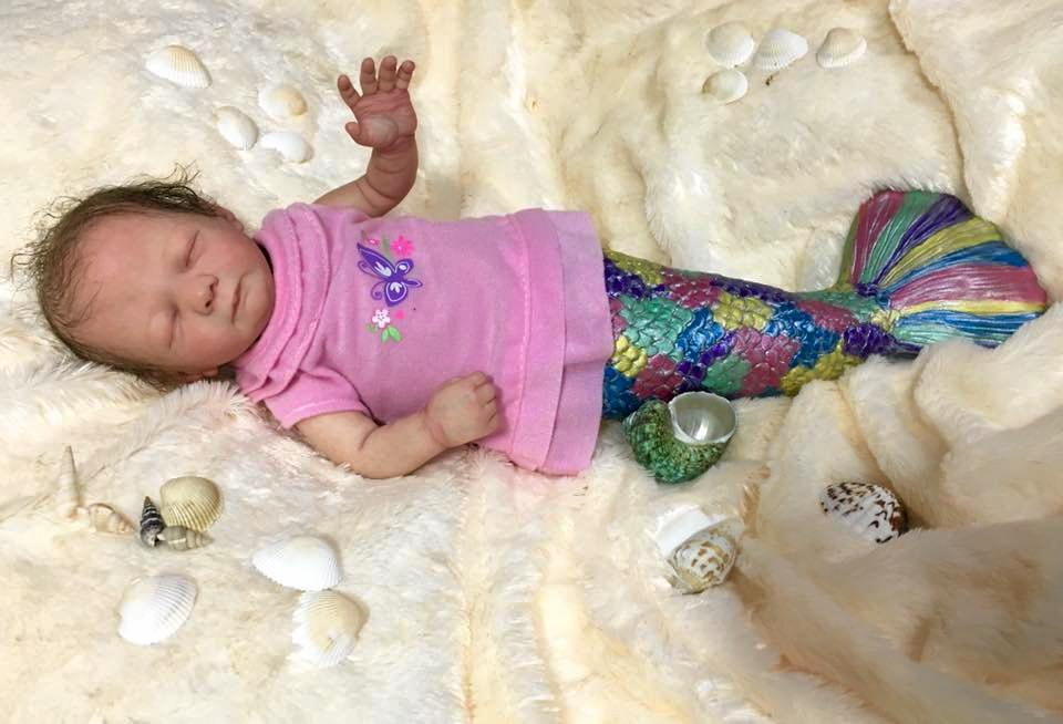 Mermaid Baby Mishell sculpted by Shawna Clymer and hand painted by Racheal Ambler.