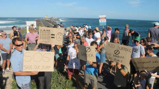 A recent protest about plans for eco barriers at Lighthouse Beach, Ballina.