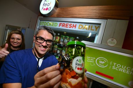 Cardiologist at Nambour General Hospital Professor Kim Greaves gives the new healthy vending machine a clean bill of health and co-founder Daniella Stalling also approves. Photo: John McCutcheon / Sunshine Coast Daily