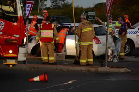 A crash at the intersection of the Bruxner Highway and Ballina Road involving a number of cars.