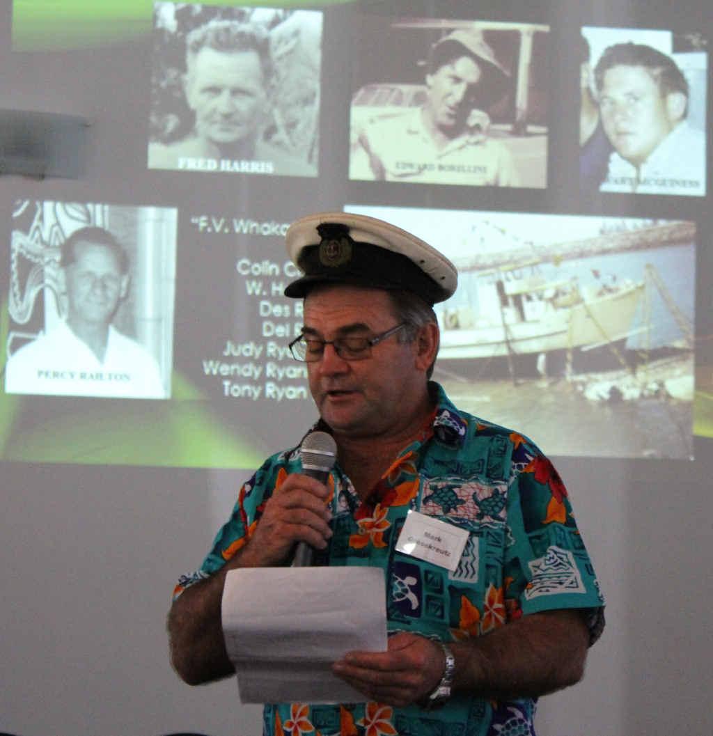 REMEMBERING ADA: MC Mark Grosskreutz at the Marine Crew reunion.