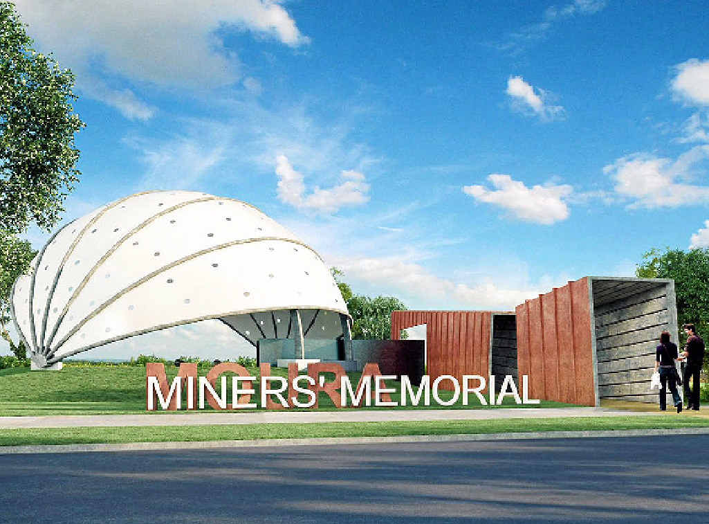 SHOVEL IN DIRT: The concept photo for the entrance to Moura Miner's Memorial. AMWU Moura committee member John Hempseed said the project had already been delayed due to a lack of funding.