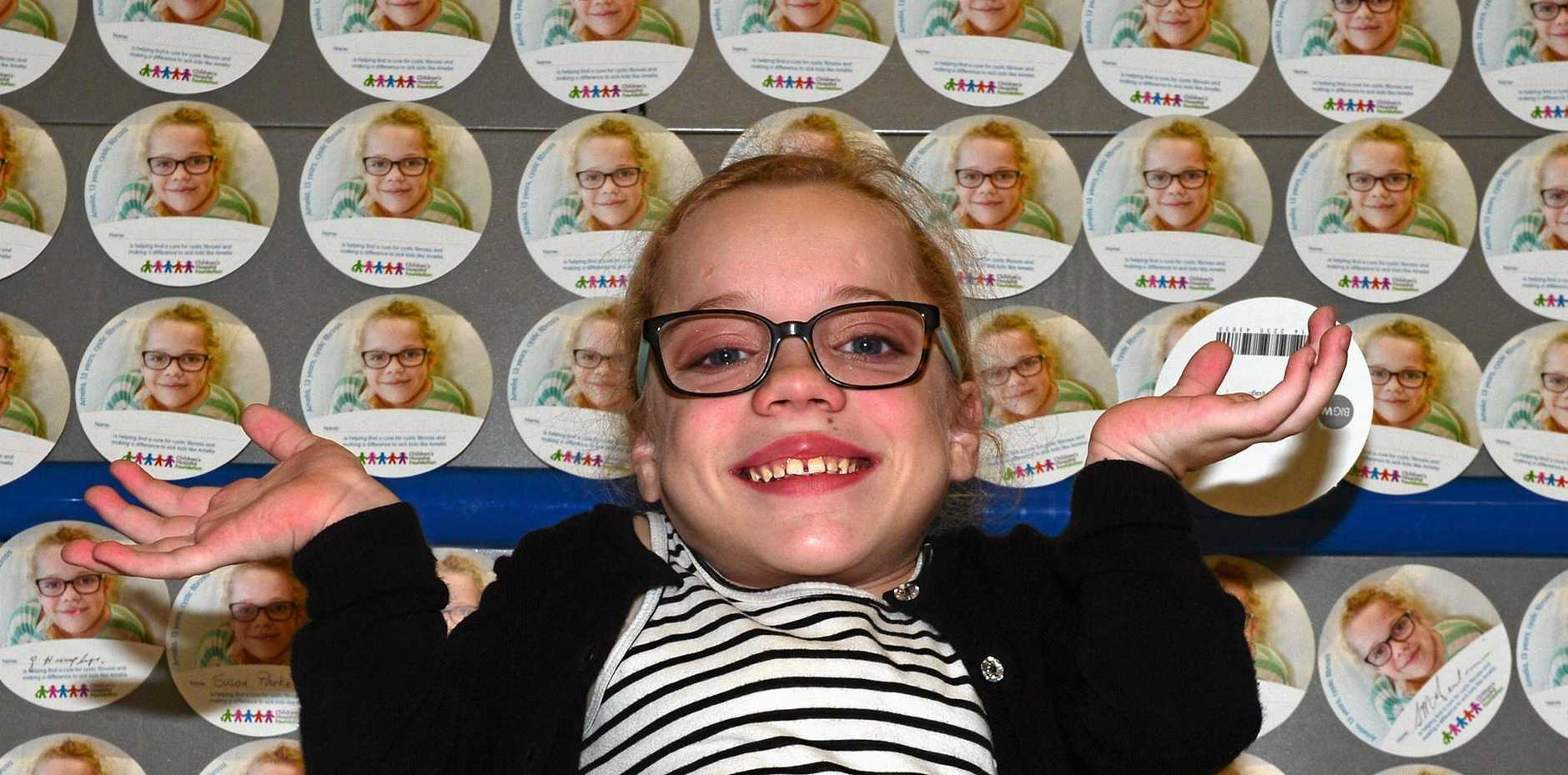 Amelia Callow is the face of the Big W 'Big Hearts' campaign to help fund the Children's Hospital Foundation.