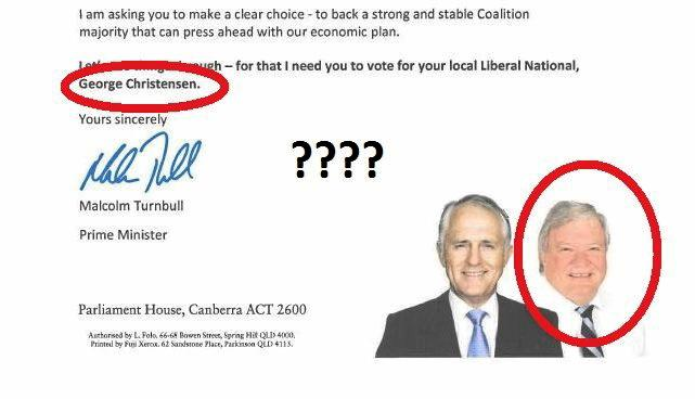 This LNP letter names George Christensen as the Flynn candidate, instead of Ken O'Dowd.