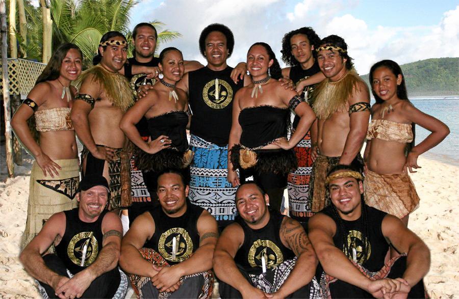 BIG BREAK: Melodee Leilua (centre right) with Polynesian super star band Te Vaka.