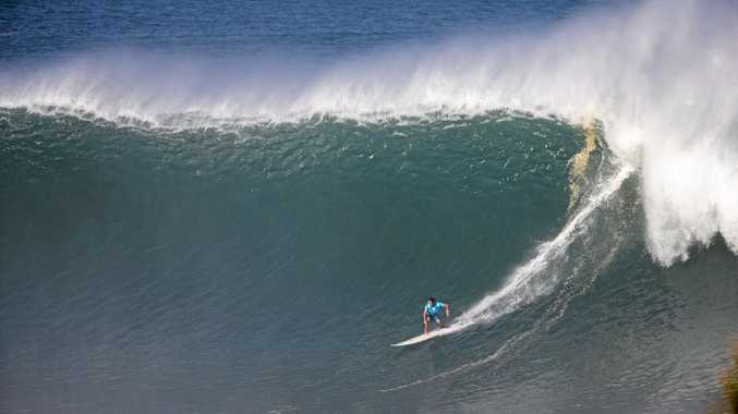 BIG RUSH: A seriously huge wave ridden by Brazilian teenager Pedro Calado in the final to finish in third place.