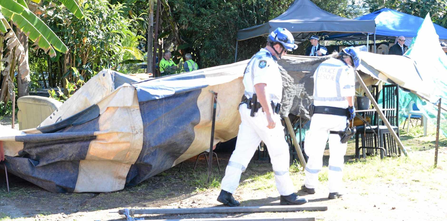 Police undertook a drug raid on the streets of Nimbin yesterday morning.