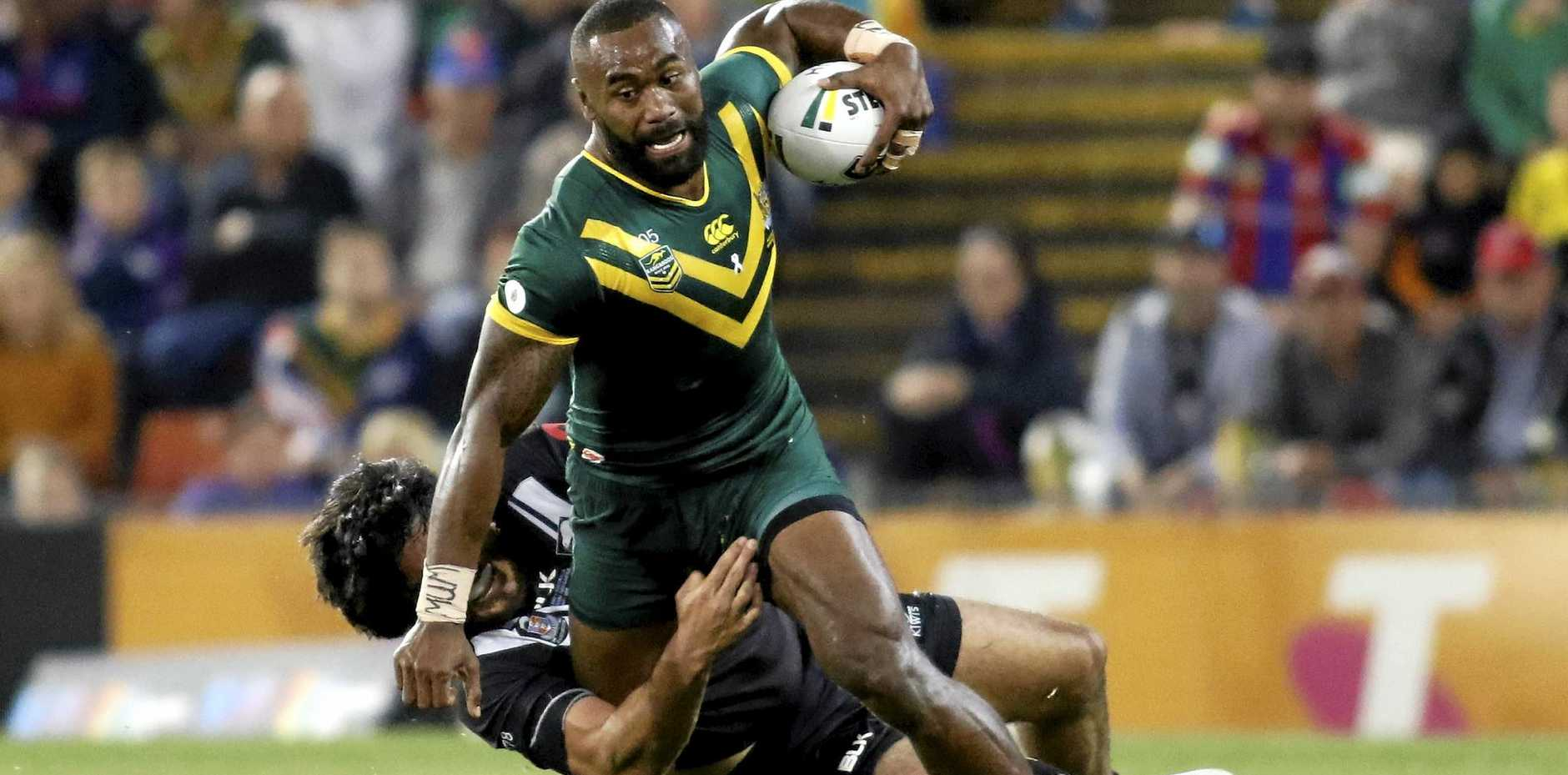 TROUBLED TIMES: Semi Radradra in action during his Kangaroos debut earlier this year.