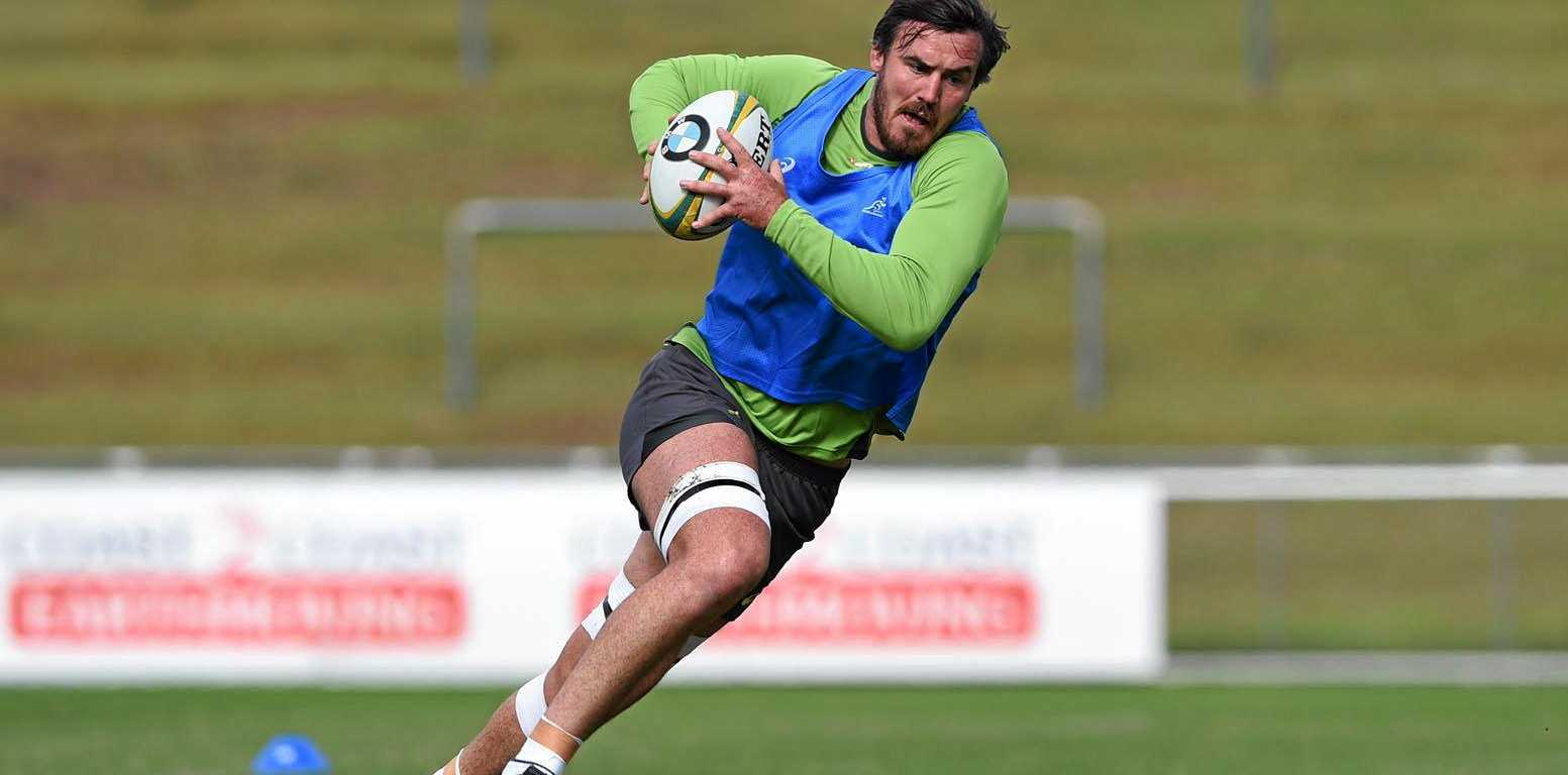 COMBACK TRAIL: Kane Douglas trains with the Wallabies at Ballymore.