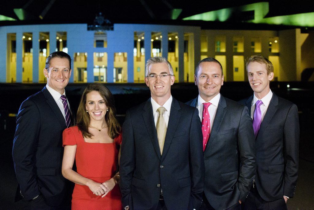 Sky News' political team, from left, Dan Bourchier, Laura Jayes, David Speers, Kieran Gilbert and Tom Connell pictured in Canberra.
