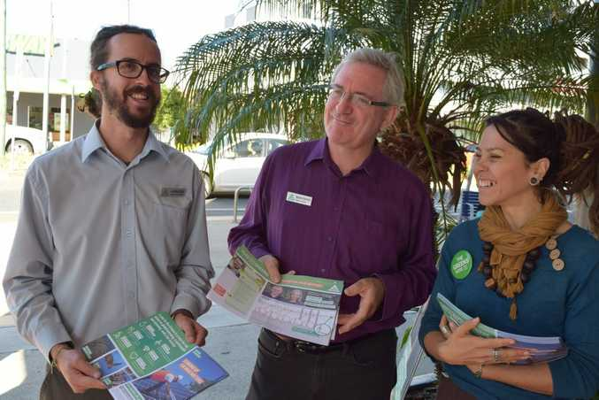Greens Federal Dawson candidate Jonathon Dykyj, Senate candidate Andrew Bartlett and Federal Capricornia candidate Kate Giamarelos.Photo: Emily Smith