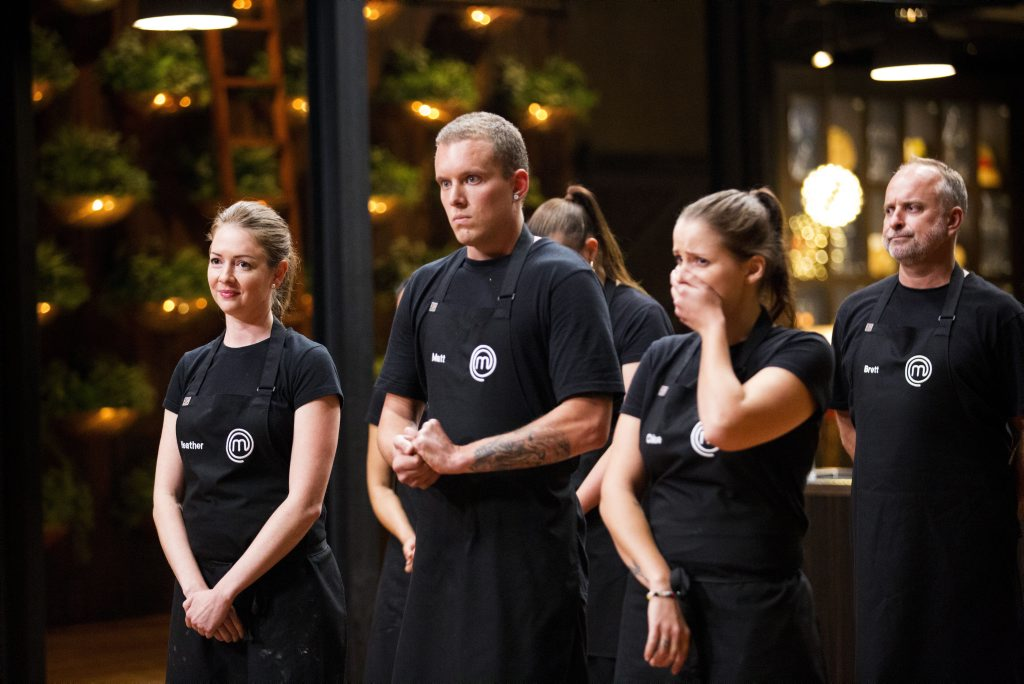 *EMBARGOED until 9pm Thursday June 30* Heather Day, Matt Sinclair and Chloe Bowles pictured in a scene from the Heston Week pressure test on MasterChef. Supplied by Channel 10.